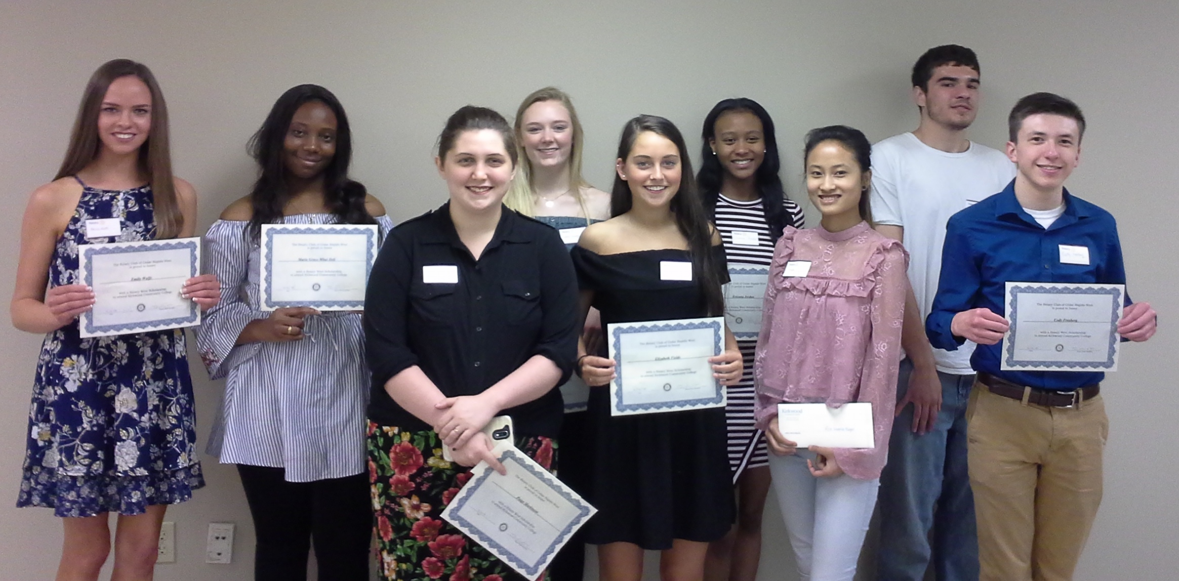 2018 Rotary Scholarship winners