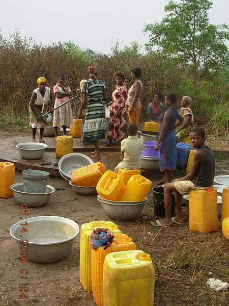 Waiting for water from the only clean water supply